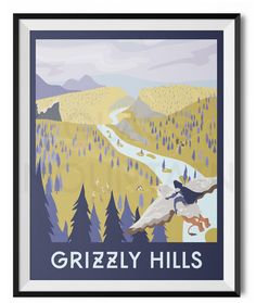 World of Warcraft travel posters. Grizzly Hills retro poster. Azeroth travel poster wall art by TheGlassMountain