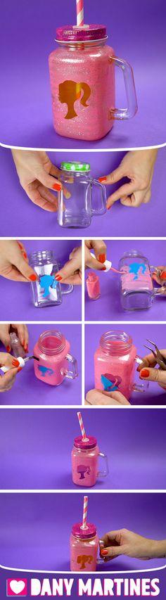 Faça você mesmo um Mason Jar da Barbie gastando pouco, super fofo, cute, meninas, fofinha, decoração, customizando, fácil de fazer, DIY, Do it yourself, Dany Martines