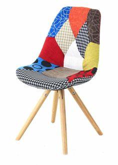 """Lumineux, original, fun, on est fan de cette chaise en tissu """"patchwork"""". Parfait pour le bureau, le salon... on adore !"""
