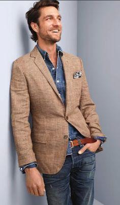 Glen plaid linen sportcoat in Ludlow fit + denim western shirt