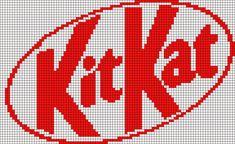 Alpha friendship bracelet pattern added by kit kat chocolate candy logo. Plastic Canvas Ornaments, Plastic Canvas Patterns, Beaded Cross Stitch, Cross Stitch Embroidery, Cross Stitch Designs, Cross Stitch Patterns, Easy Pixel Art, Graph Paper Drawings, Modele Pixel Art