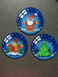 Realistic snowball themed hama beads coasters