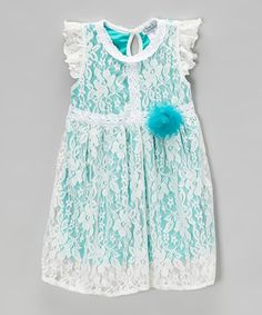 Teal Lace Overlay Dress - on zulily