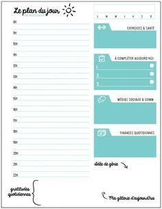 Plan du jour feuille quotidienne dagenda by roseflash on Etsy Diy Agenda, Agenda Planner, Weekly Log, Organization Bullet Journal, Planners, Bullet Journal Printables, Writing Paper, Bullet Journal Inspiration, Book Journal