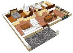 3d interior de casa rustica de planta baja.