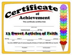 Articles of Faith Certificate of Achievement.
