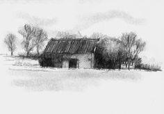 Artist Sean Briggs producing a sketch a day Old barn  #art #barn #drawing #http://etsy.me/1rARc0J #sketch