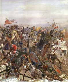 Livonian Order of Templar Knights battle the Rus army of Alexander Nevsky.