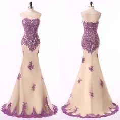 Elegant Prom Dresses with Purple Lace Appliques,