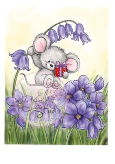 Wild Rose Studio Clear Stamp - Mouse n Bluebell Stencil, Baby Painting, Pet Mice, Cute Mouse, Cute Animal Drawings, Diy Scrapbook, Scrapbooking, Illustrations, Clear Stamps