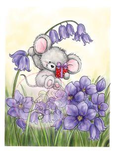 Karten-Kunst - Stempel- und Scrapbook-Shop - Wild Rose Studio Clear Stamp - Mouse on Bluebell