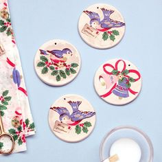 Learn how to make super simple Christmas ornaments using air dry clay and pretty napkins!