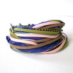 boho wrap bracelet leather wrap bracelet ribbon by jcudesigns, £19.00