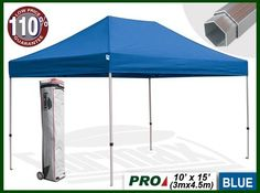 """Eurmax Profession Ez Pop up Canopy with Wheeled Bag (15x10 Feet, Blue) by eurmax. $549.95. 600D polyester top,99% UV Pretection and UPF50+ rated, CPAI-84 fire retardant certification. Super wheeled bag with 4.7""""  wheels,The best in the market, easy to handle even on rough ground. frame package:13'' x 17.7'' x 64.2'' weight 77.2 LBS  / Canopy top pakcage:15.7'' x 17.7'' x 4.1'' weight 13.4LBS. Commercial grade Alumium frame with2.2''hexagonal leg. This10' x 15' i..."""