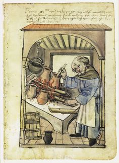 Brother Wilhelm Cooking by Anonymous Late 15th Century or Early 16th Century