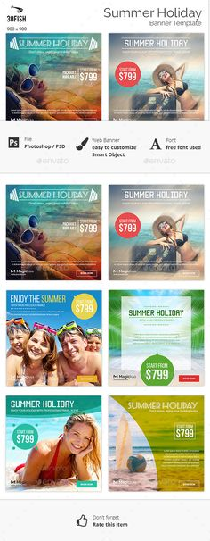 Summer Holiday Banner Template #design #ads Download: http://graphicriver.net/item/summer-holiday-banner-/12380161?ref=ksioks