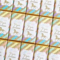 Unicorn Chocolate Bars   Personalised Unicorn Party Favours Chocolates for a Rainbow Unicorn themed birthday party. Click here for details on website and for more matching unicorn party printables from Print & Party. #unicornparty #unicornbirthday #unicornpartyideas