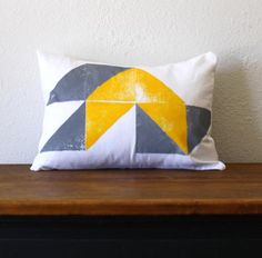 Hand Printed Gray and Yellow Geometric Pillow  12 x by NestaHome