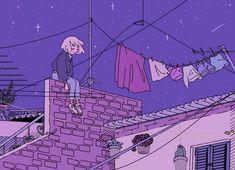Kunst Zeichnungen - alone at night Poster - Best Art Pins Purple Aesthetic, Aesthetic Art, Aesthetic Anime, Aesthetic Drawings, Aesthetic Pictures, Aesthetic Clothes, Pretty Art, Cute Art, Pixel Art