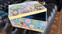 caixa decorada decoupage para crianças