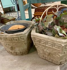 Pair Of Concrete Planters With Greek Key Motif  $39  Vintage Affection Dealer #1680 Row C  East Fork Mall, Sunnyvale 613A Highway 80 East Sunnyvale, TX 75182