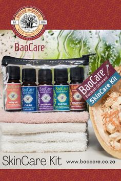 5 unique multi-tasking baobab remedies together into one convenient SkinCare Kit! Each remedy can help with the skin conditions you or your family may be struggling with such as dry skin, eczema, teenage skin, adult acne, scarring, stretch marks and aging skin. Making an ideal starter pack or gift, the remedies come in handy, easy-to-use 10ml bottles. The pack fits easily into any bag, perfect for travelling or when you're on-the-go. It's every mom's natural care-kit for family skin… Baobab Oil, Baby Kit, Stretch Marks, Skin Problems, Dry Skin, Travelling, Bottles, Remedies, Conditioner