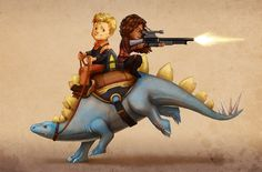 Giddy up. Firefly: Wash and Zoe on a Dinosaur by *Risachantag on deviantART