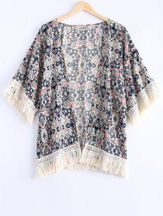 Ethnic Style Floral Print Fringe Short Sleeves Kimono For Women