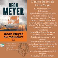 L'année du lion de Deon Meyer Thriller, Lion, Leo, Lions