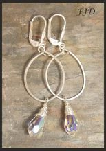 Crystal and Sterling Silver Hoop Earrings