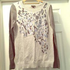 Embellished Express sweater Express sweater with sequin leopard embellishment. Express Sweaters Crew & Scoop Necks