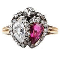 C 1880 Victorian Era Old Mine Cut Ruby Diamond Silver Gold Twin Heart Ring | From a unique collection of vintage engagement rings at https://www.1stdibs.com/jewelry/rings/engagement-rings/
