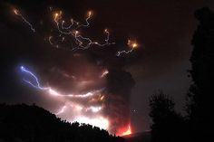 The dramatic effects of huge volcanic ash clouds being shot through by fierce lightning bolts at the recent Puyehue eruption in Chile.