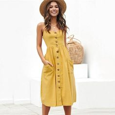 BEFORW Women Summer Dress 2019 Sexy Straps Bohemian Floral Tunic Beach Dress Sundress Pocket Red Dresses Female-in Dresses from Women's Clothing Vestidos Sexy, Vestidos Plus Size, Dress Vestidos, Sexy Summer Dresses, Casual Summer Outfits, Sexy Dresses, Fashion Dresses, Dress Summer, Dresses Art