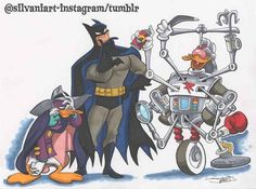 Where does he get those wonderful toys? @emeraldcitycomicon commission. #darkwingduck #batman #gizmoduck