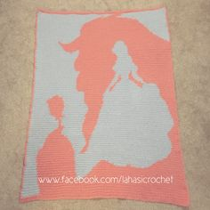 Beauty and the Beast graphghan crochet blanket in pink and grey ♥️