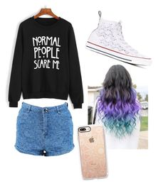 """""""Untitled #1"""" by angela-mccubbin ❤ liked on Polyvore featuring WithChic, Boohoo, Converse and Casetify"""