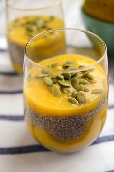 Mango Chia Pudding - Layers of vanilla-infused Chia pudding are draped in a sweet mango cream to create a dessert (or snack) Pureed Food Recipes, Good Healthy Recipes, Pudding Recipes, Cooking Recipes, Rice Recipes, Healthy Lunches For Kids, Healthy Snacks, Healthy Rice, Healthy Eating