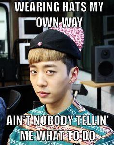 You wear those hats like you wanna Yongguk.