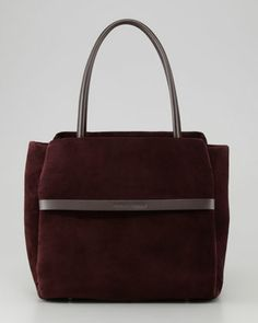 Padded Suede Satchel Bag, Prune  by Brunello Cucinelli at Neiman Marcus.