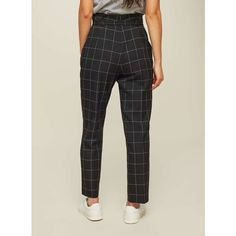 Miss Selfridge Black Checked Paper Bag Trousers ($68) ❤ liked on Polyvore featuring pants, grey, checked trousers, paper pants, checked pants, checkerboard pants and miss selfridge