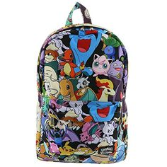 fac34f801 This Pokemon backpack features an all over character print, a front pocket,  laptop sleeve and padded straps.