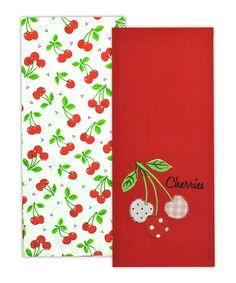 Look at this #zulilyfind! Cheery Cherries Dish Towel Set by Design Imports #zulilyfinds