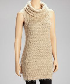 Take a look at this Taupe Cowl Neck Sleeveless Tunic Sweater by Simply Irresistible on #zulily today!