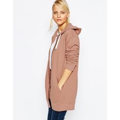 ASOS Oversized Zip Front Hoodie ($48) ❤ liked on Polyvore featuring tops, hoodies, nude, cotton hoodie, zip front hooded sweatshirt, tall hoodies, cotton hoodies and white hoodie