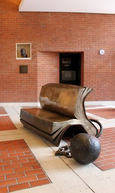 Sitting on History by Bill Woodrow: The British Library by curry15, via Flickr