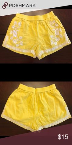 Yellow and White Embroidered J.Crew Fabric Shorts Yellow/White Embroidered Fabric Shorts  Unfortunately no tags (waistband taken in)  Lined and perfect for summer! J. Crew Shorts
