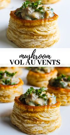 Mushroom vol-au-vent - - Golden crispy glossy puff pastry topped with creamy garlicky mushroom sauce. Vol Au Vent, Vegetarian Recipes, Cooking Recipes, Amish Recipes, Dutch Recipes, Cooking Ideas, Puff Pastry Recipes, Savory Pastry, Beef Bourguignon