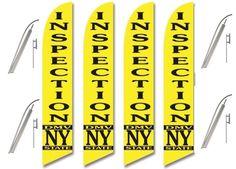Windless Swooper Flag Kit 4 Pack NY STATE DMV INSPECTION Yellow/Black #EHTFlags