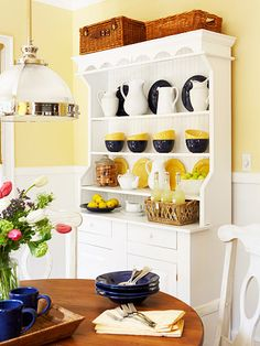 Country Chic Breakfast Nook Makeover Country Chic Breakfast Nook Makeover Art with Anndell anndell wubben My Better Homes and Gardens Dream Home I love love LOVE nbsp hellip dresser makeover Hutch Makeover, Furniture Makeover, Painted Hutch, Painted Furniture, Kitchen Dresser, Kitchen Dining, Kitchen Organisation, Kitchen Storage, Country Chic